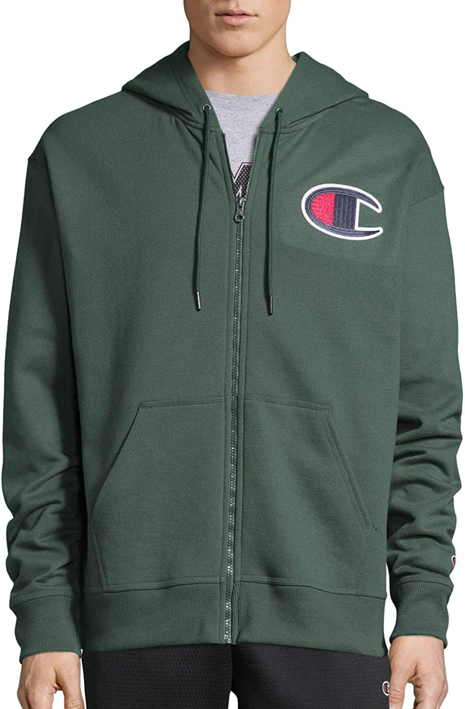 Champion Mens Powerblend® Fleece Zip Hoodie C Logo (GF91H Y07972) Cargo Olive