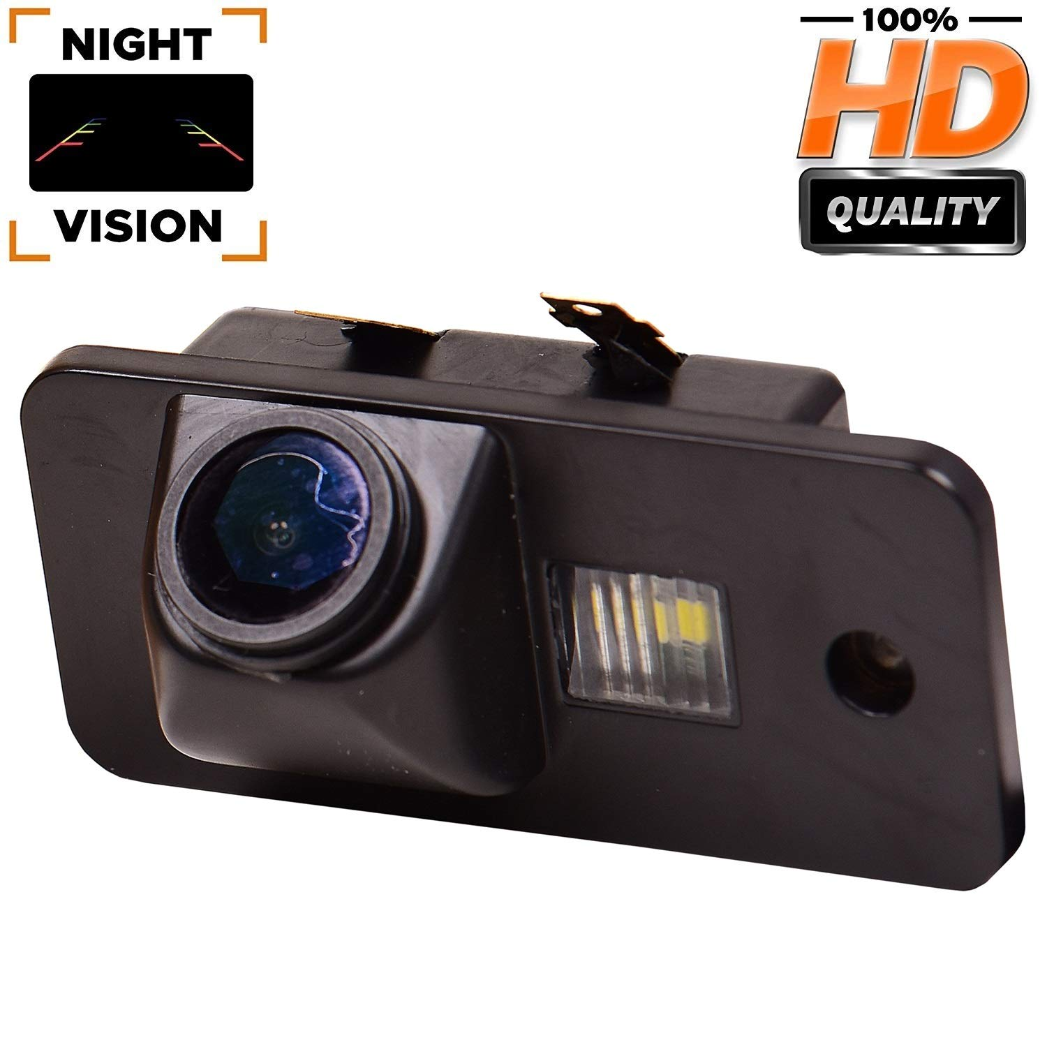 Waterproof Rear-View License Plate Car Rear Backup Parking Reverse Camera for Audi A3 S3 A4 S4 A6 C6 S6 RS6 A8 RS4 TT 8N Q7 Model A= Srew tyle HD 720p Backup Camera