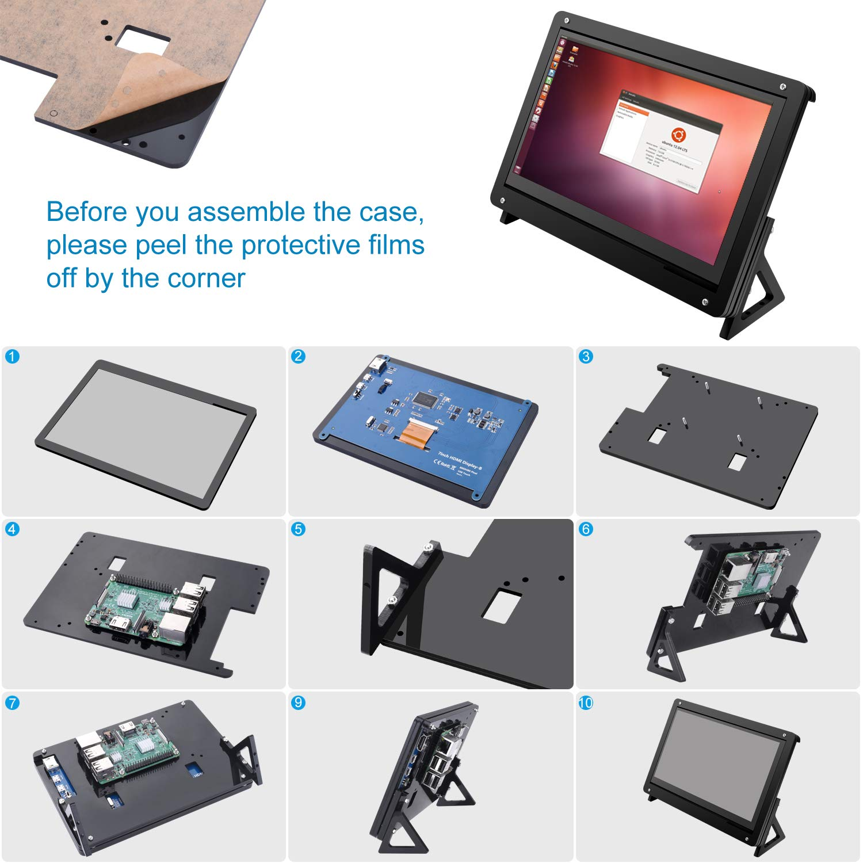 Kuman 7 inch Raspberry Pi Touch Screen Case Holder by kuman (Image #5)