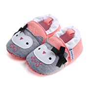 Save Beautiful Cute Cartoon Infant Unisex Baby Warm Cotton Anti-Slip Soft Sole First Walkers Shoes (0-6 Months, Pink owl)