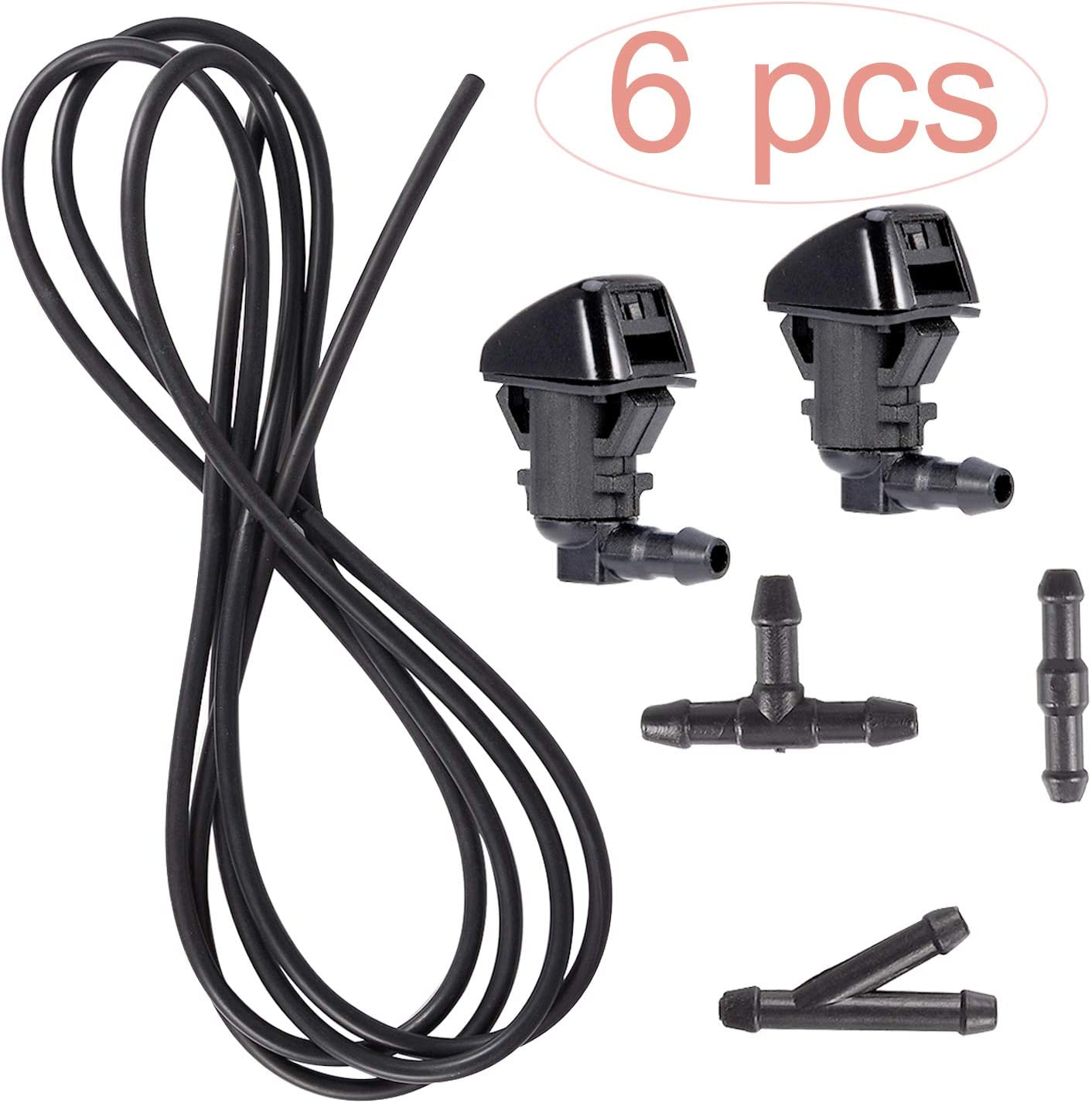 BingSnow 6 Pcs Windshield Washer Nozzles Kit-Windshield Washer Squirter Nozzle Spray and 3 Meters Fluid Hose with 3 Pcs Connectors for 2011-2015 Ford F250 F350 F450 F550, Replace OEM # BC3Z17603A