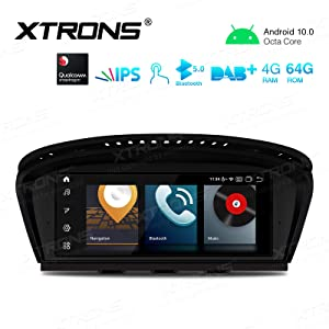 XTRONS 8.8 Inch IPS Touch Screen Car Stereo Android 10.0 Octa Core 4GB RAM 64GB ROM GPS Navigator with iDrive System Retained Supports Car Auto Play WiFi DVR TPMS for BMW 3 Series 5 Series E90 E60 CCC