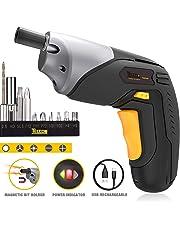 Electric Screwdriver, TECCPO Cordless Screwdriver, 2000mAh Li-ion, 4Nm MAX Torque, 10pcs Accessories and LED Light, USB Rechargeable - TDSC02P