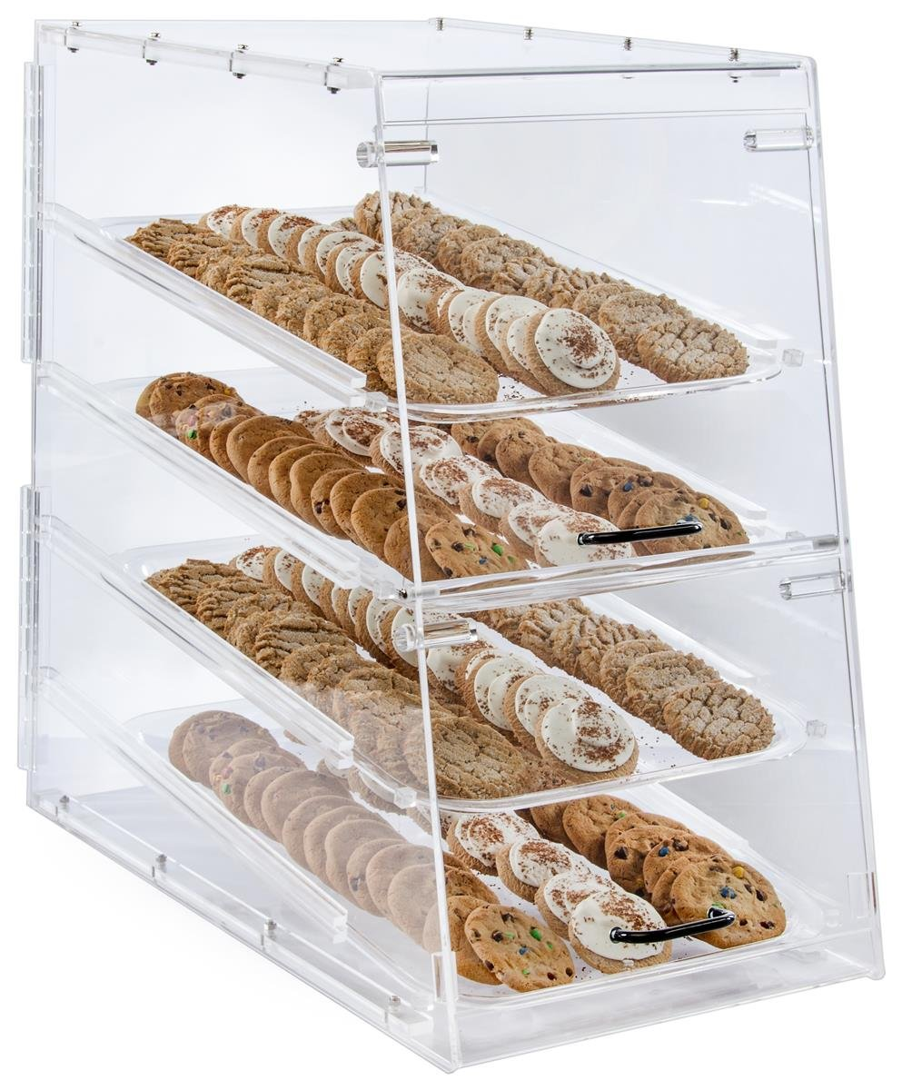 Large Bakery Display Storage Case 4 Trays Magnetic Door 13 9 X 24 5 X 24 5 Inch Clear Acrylic Industrial Scientific