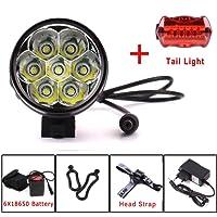 Eclairage LED Velo,9000 Lumens 7x CREE XM-L T6 LED 4 Modes Bicyclette de Vélo Lampe Extérieure Devant la Lumière Eclairage Vélo Puissant (T7)
