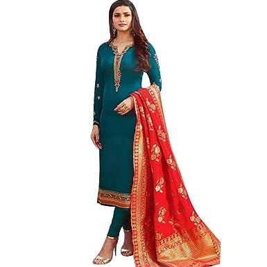 bb1b05b1ad Amazon.com: Designer Wedding Partywear Silk Embroidered Salwar Kameez Indian  Dress Ready to Wear Salwar Suit Pakistani: Clothing