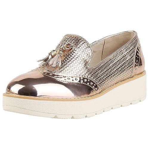 newest 5b1f7 a5590 napoli-fashion Damen Slipper Plateau Loafers Lack Quasten ...
