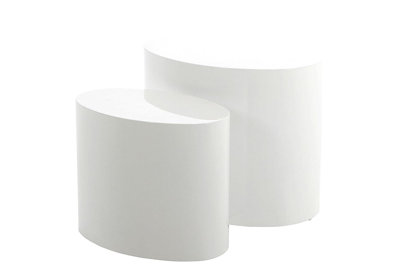 AC Design Furniture 46188Set tavolo Rico, 2 pezzi, lucido, Bianco (Weiß) 41624