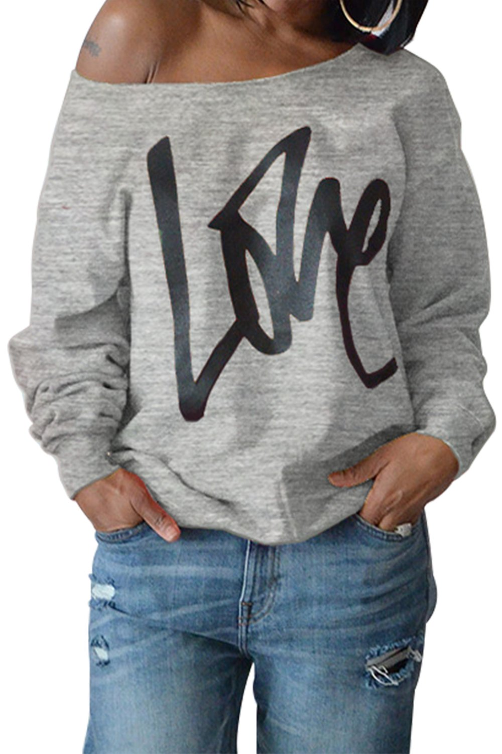 ReachMe Womens Off The Shoulder Slouchy Sweatshirt Love Print Oversized Pullover(Heather Grey,XL)