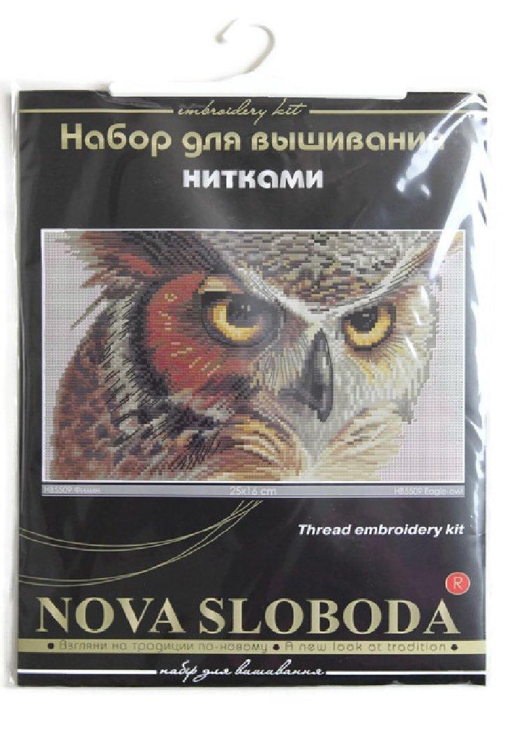 Nova Sloboda Kreuzstich Stickpackung Weisse Eule 25x16 Stickvorlage Stramin Weiss Stickset Stickerei Handarbeit Set Stickbild selbst Sticken