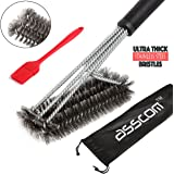 "BBQ Grill Brush By Asscom™ - 18"" - 3 Stainless Steel Brushes in 1 and a small 100% small silicone brush - Best Barbecue Cleaner Tools Accessories - Outdoor Kitchen Wire Bristles Cleaning Grates Parts Set to Handle Weber Charcoal, Charbroil, Gas, Electric, Porcelain, Infrared Grills"