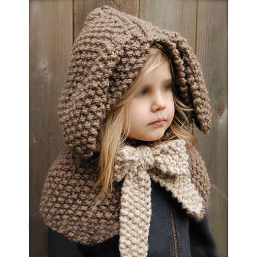 Vandot Otoño Invierno Lana Sombreros de Punto Chal Capucha Gorro Bufanda  Siamés Sombrero Knitted Earflap Cape Chawls Cap Siamese Cloak Hat para bebé  Niños ... a5c30a2f7a5