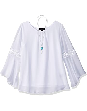 4de30a61b1e Amy Byer Girls  Big Bell Sleeve Top with Lace Inset