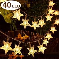 Aookey Luces LED Diseño de Estrellas, 40 Estrellas 5M Baterías Powered Decorativo Blancas de Luz Cálida Luces, para la Navidad, Fiesta, Jardines, Casas, Boda