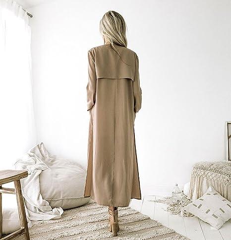 d9e995773716 Damen Mode Trenchcoat FORH Frauen Vintage Lang Cardigan Mantel mit  Seitenschlitzen Winter übergangsjacke Wasserfall Jacke Windbreaker Parka  Outwear ...