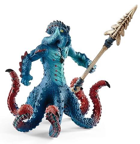 Schleich-42449 Pulpo monstruoso con arma, Color azul, rojo (42449