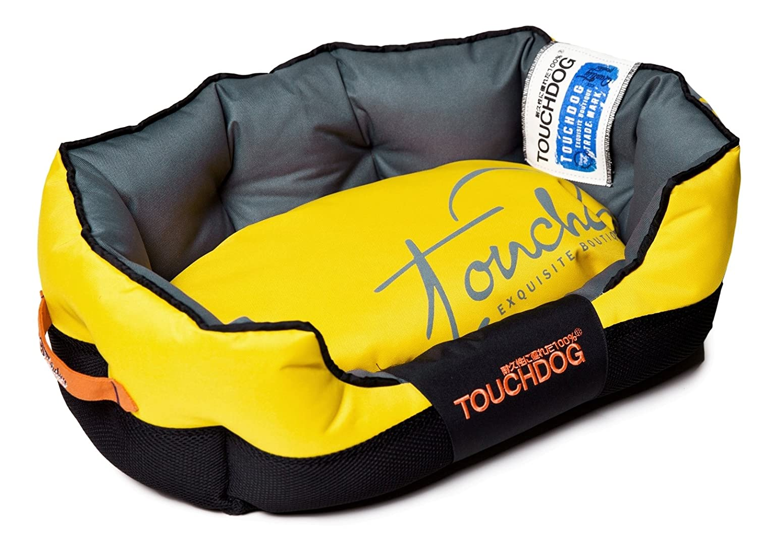 Sporty Yellow, Black MD Sporty Yellow, Black MD TOUCHDOG 'Performance-Max' Sporty Comfort Cushioned Reflective Water-Resistant Fashion Pet Dog Bed Mat, Medium, Sporty Yellow, Black