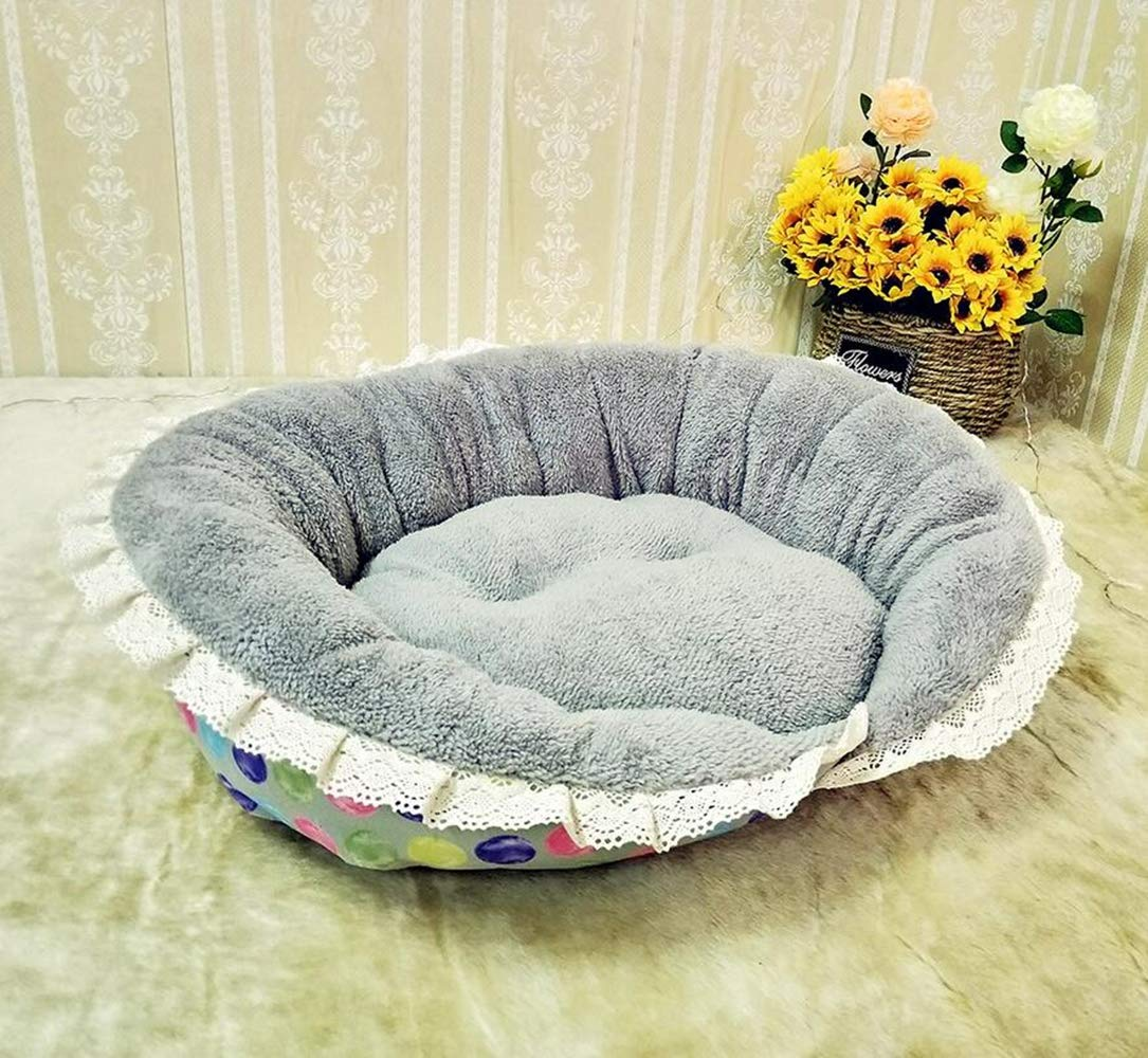Grey YAMEIJIA Pet dog mattress Plush nest Breathable comfort Pet mat Cat litter 58x48+18cm