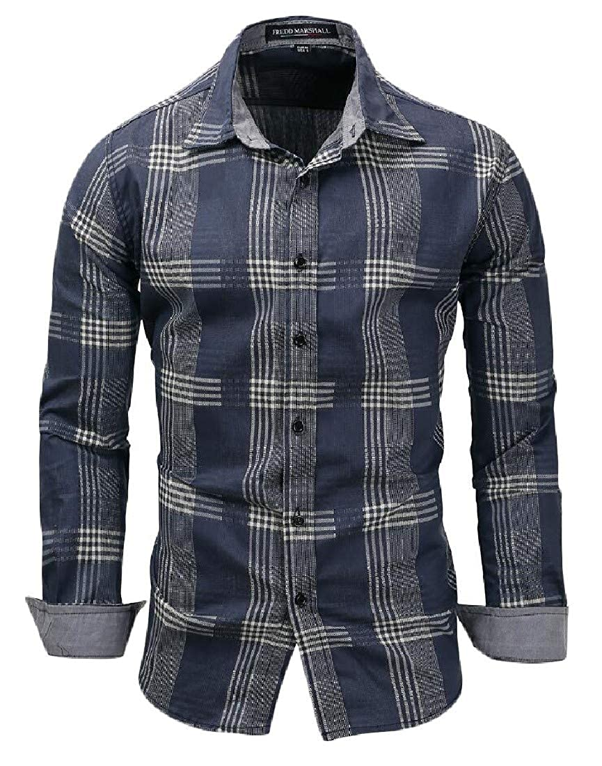 Sweatwater Mens Plaid Loose Curved Hem Lapel Neck Long Sleeve Button Down Shirts