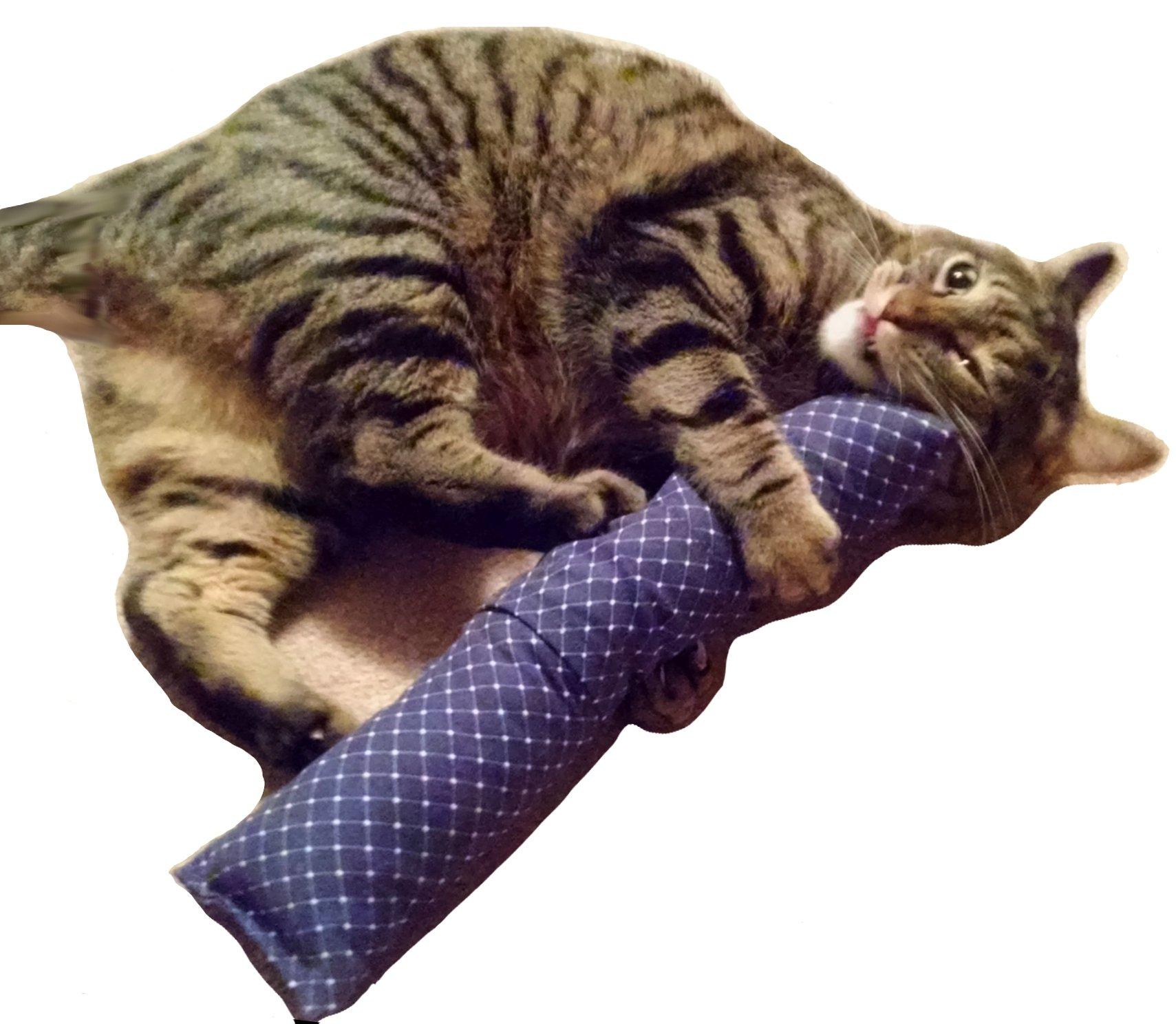 REFILLABLE 15'' Catnip Cat Kicker Toys / Kitty Kick Sticks / Cat Kick Stix (Blue #1)