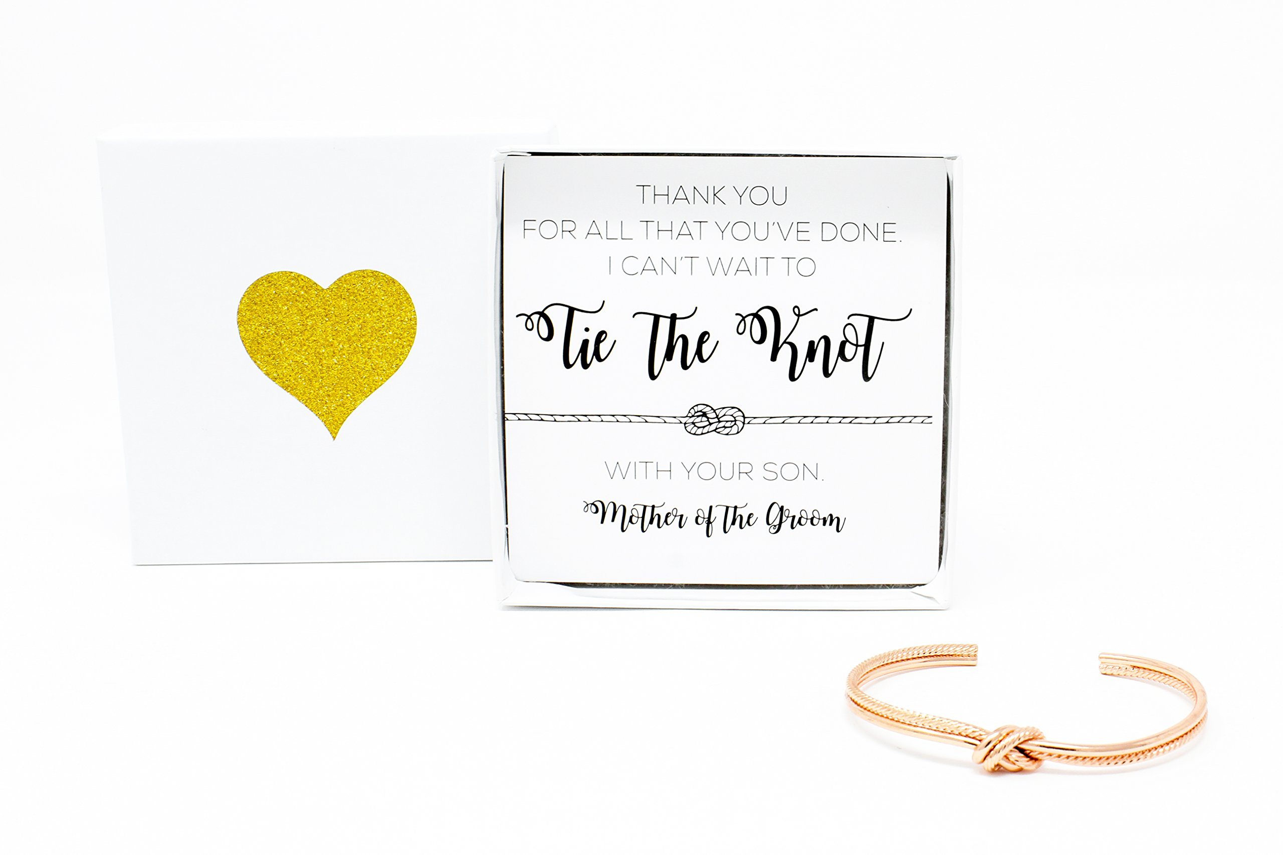 Lemon Honey Jewelry Bridesmaid Gifts - Mother of the Groom Tie The Bracelet w/Gift Box, Sailor Bridal Party Gift Sets, Adjustable Love Knot Cuff Bracelet (Gold, Rose Gold, Silver) (Rose Gold)