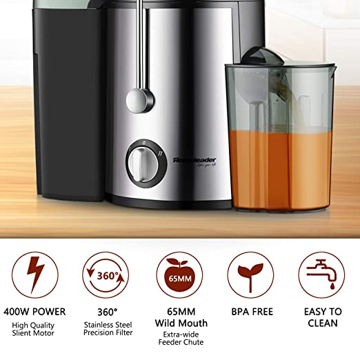 Amazon.com: Juicer Juice Extractor, Homeleader Stainless Steel Centrifugal Juicer with 3 Wide Mouth, for Fruits and Vegetables, BPA-FREE: Kitchen & Dining