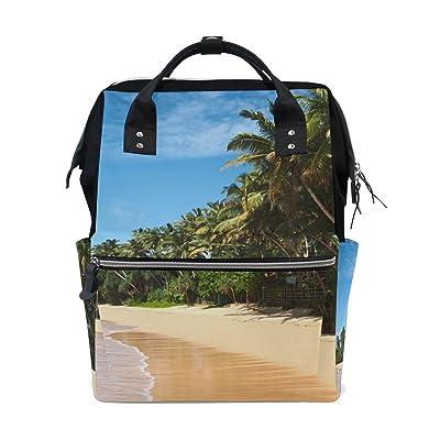 WIHVE Beach Palm Cloud Sky Canvas School Bag Fashion Laptop Backpack Bookbag