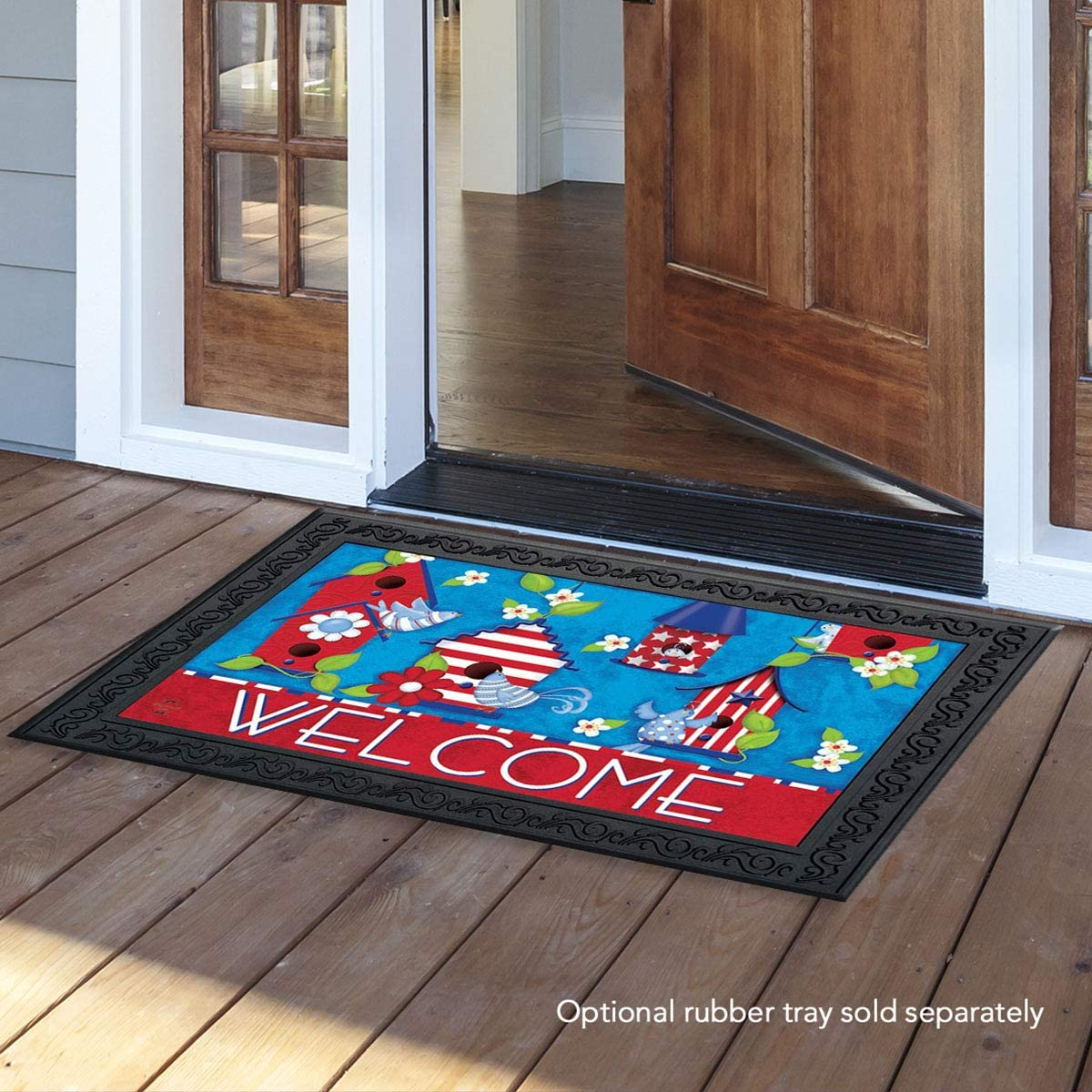 Briarwood Lane Patriotic Birds Primitive Doormat Indoor Outdoor 18 x 30