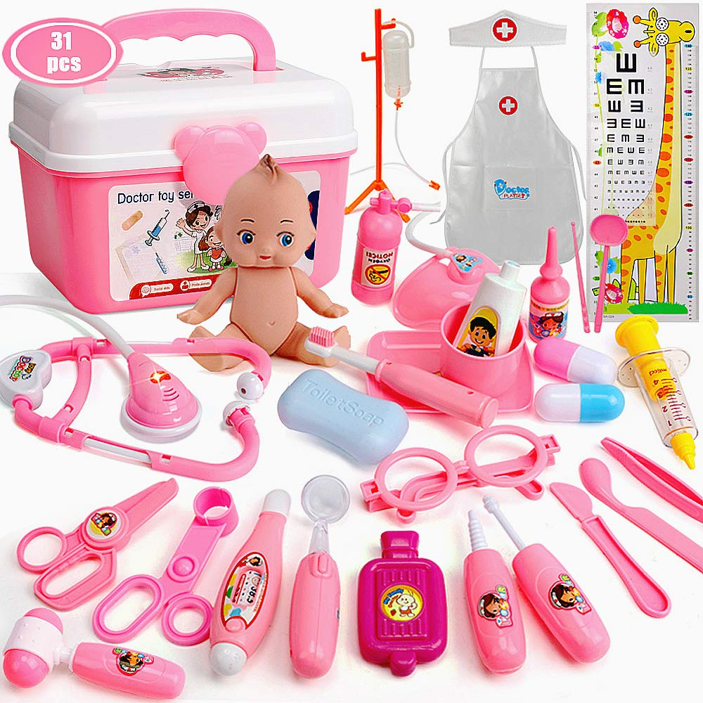 Bunny.K Kids Doctor Kit, Toy Doctor Set for Toddlers 31pcs Durable Medical Pretend Play Toy Set (Pink)