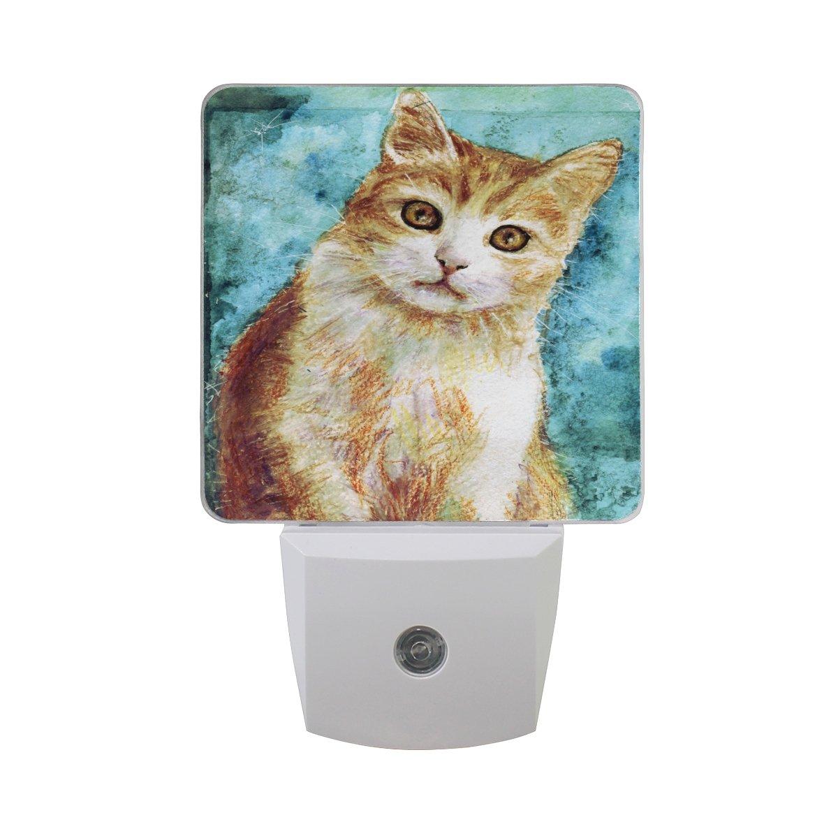 Alaza水彩かわいい猫プラグインLED Dusk to Dawnセンサーナイトライト、cool-touchデザイン壁階段用ライト寝室キッチン、廊下、または任意暗い部屋 B07CH3H93K 16045