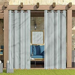"ParadiseDecor Modern Indoor/Outdoor for Garden Drapes Porch Gazebo Curtains Abstract Retro 112"" W x 95"" L"