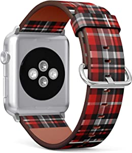 Compatible with Small Apple Watch 38mm & 40mm (All Series) Leather Watch Wrist Band Strap Bracelet with Stainless Steel Clasp and Adapters (Tartan Plaid Fabric)