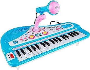 ZJTL teclado de piano para niños, instrumento de música con micrófono, 37 teclas MQ-3736