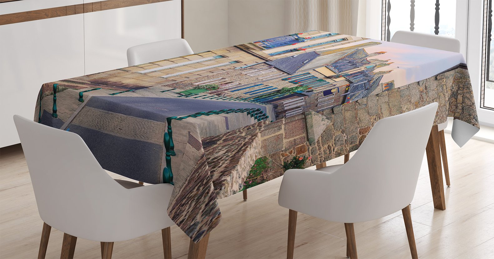 Ambesonne Wanderlust Decor Tablecloth, Traditional French Stone Houses Windows Decorated with Flowers in Roscoff, Dining Room Kitchen Rectangular Table Cover, 60 X 90 inches, Blue Red Beige