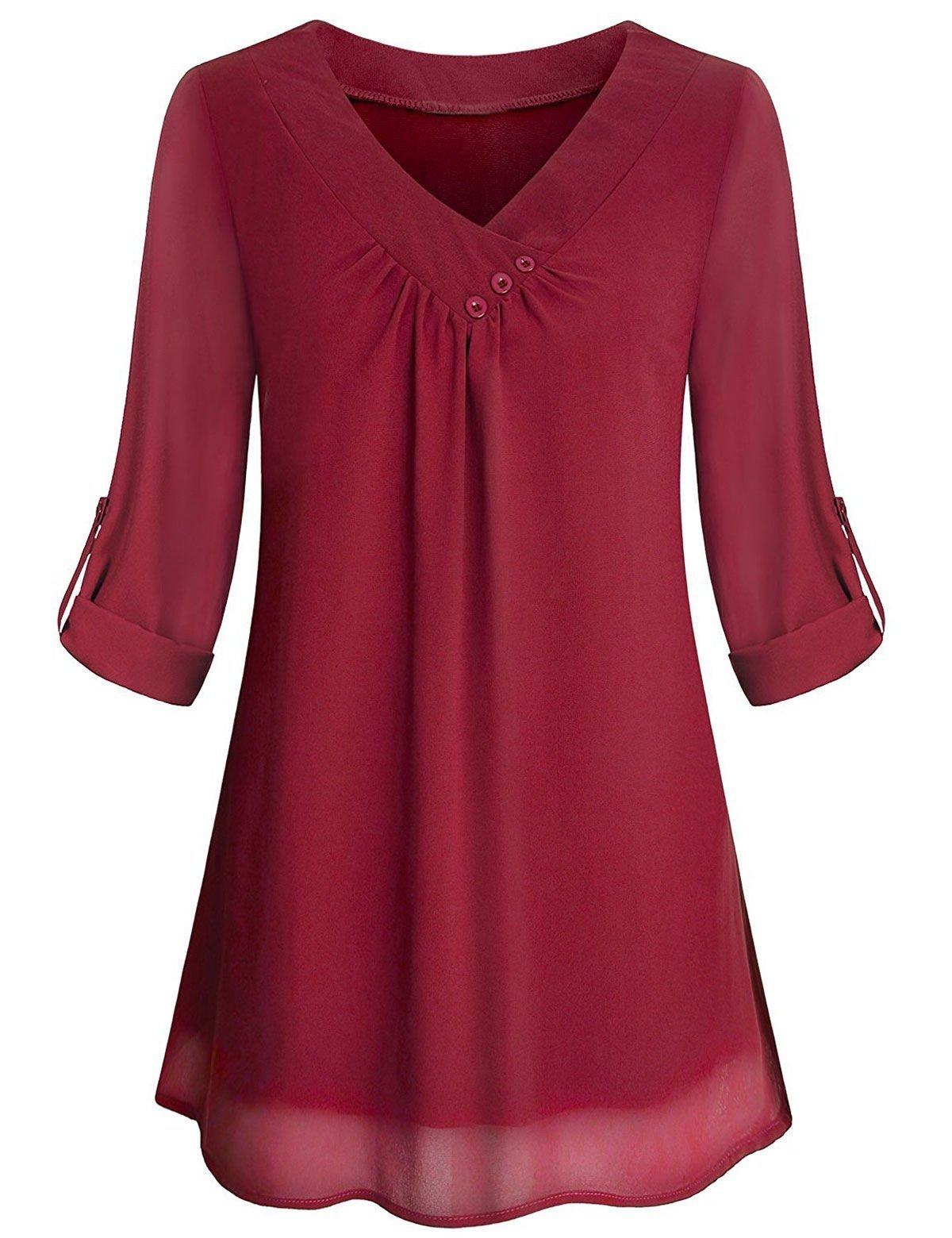 Chiffon Blouse, Women Casual Vneck Cuffed Sleeve Business Wear Work Clothes Pretty Button Collar Airy Flowing Thin Solid Flowy Fashion Shirt Tunics Top