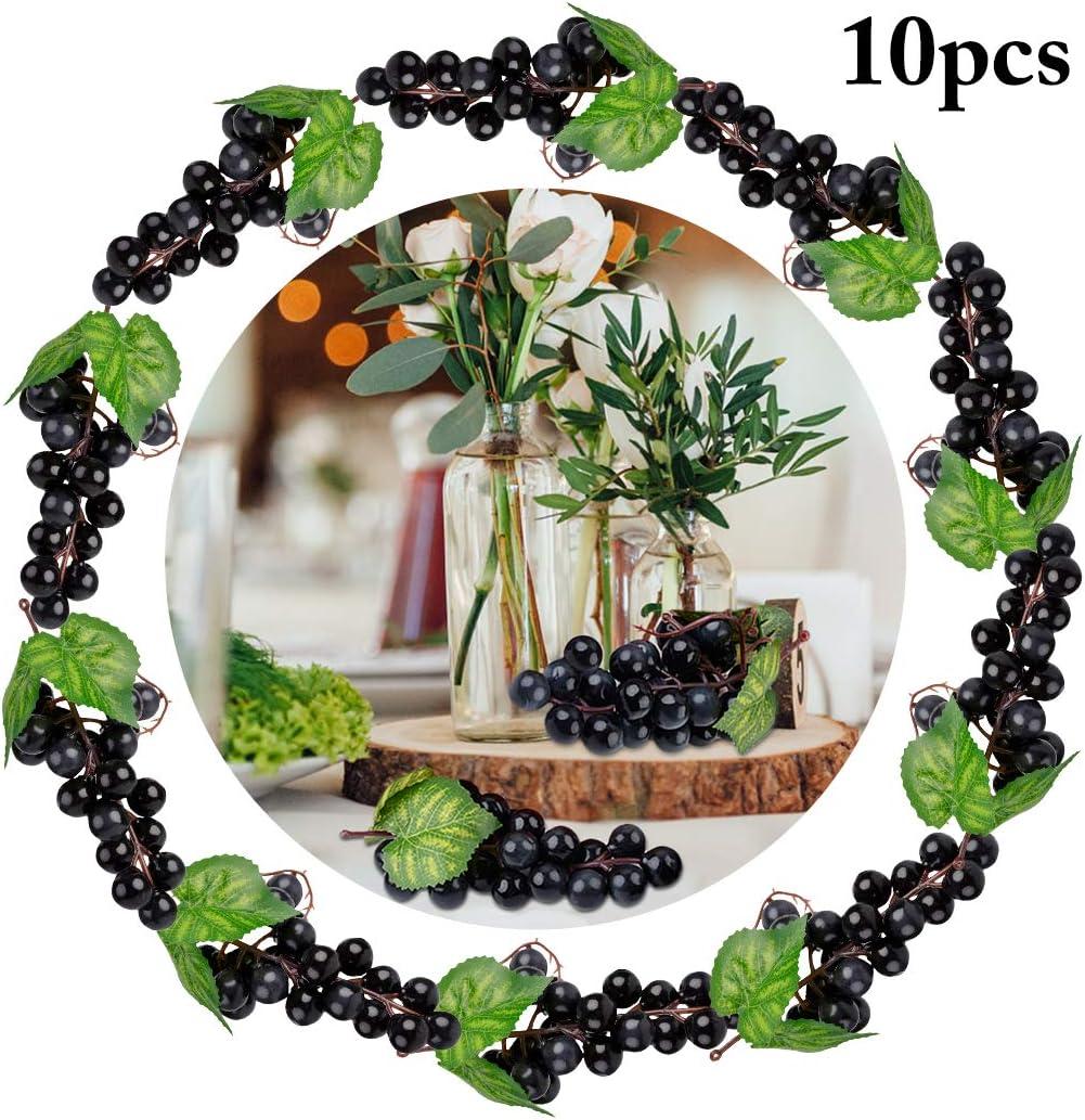 JUSTDOLIFE Uvas Artificiales Decorativas Frutas Falsas Decoración de Mesa Frutas Ornamentos Colgantes