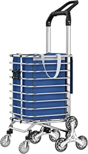 JIUYOTREE Folding Shopping Cart with Detachable Waterproof Canvas Bag and Rolling Wheels, Portable Steel Trolley,Silver