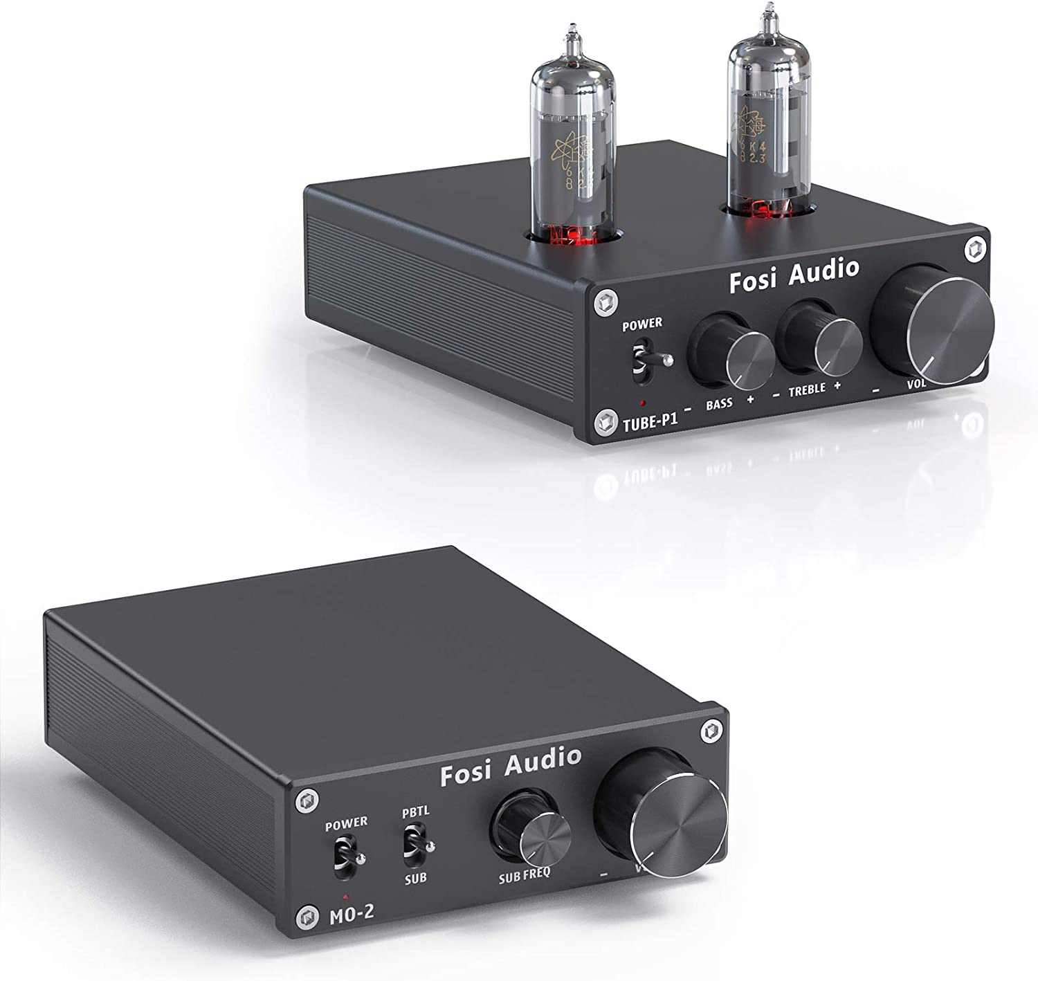 Fosi Audio M02 Subwoofer Amplifier Mono Channel Home Theater Power Amp 100W and P1 Tube Pre-Amplifier