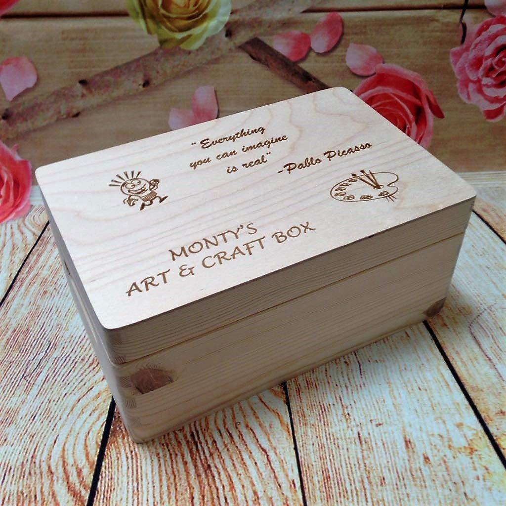 Personalised Wooden Art and Craft Box Bespoke Natural Wood Keepsake Treasure Gift Present New Lasered Engraved Store Memories