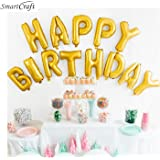 smartcraft Happy Birthday Alphabet Letter Foil Balloons for Kids (Gold)