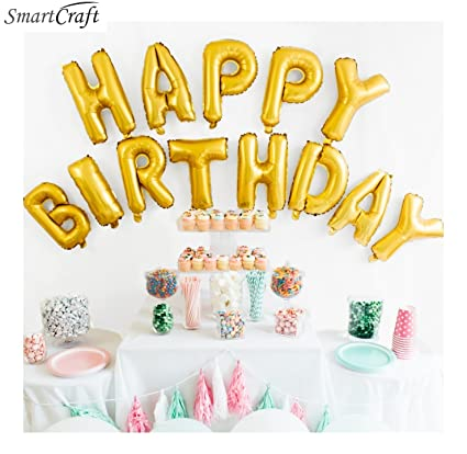 Smartcraft Happy Birthday Alphabet Letter Foil Balloons For Kids Gold