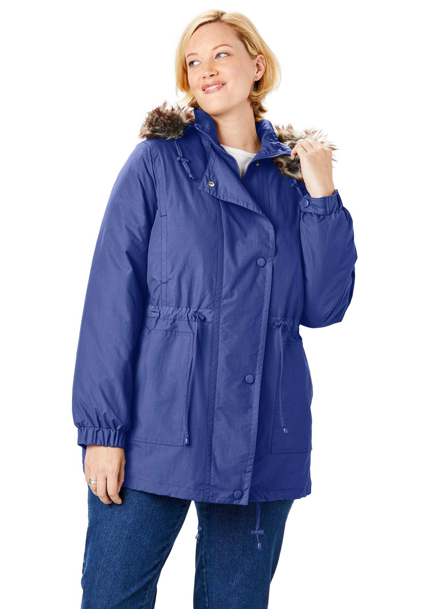 Woman Within Women's Plus Size Quilt-Lined Taslon Anorak - Ultra Blue, 4X by Woman Within