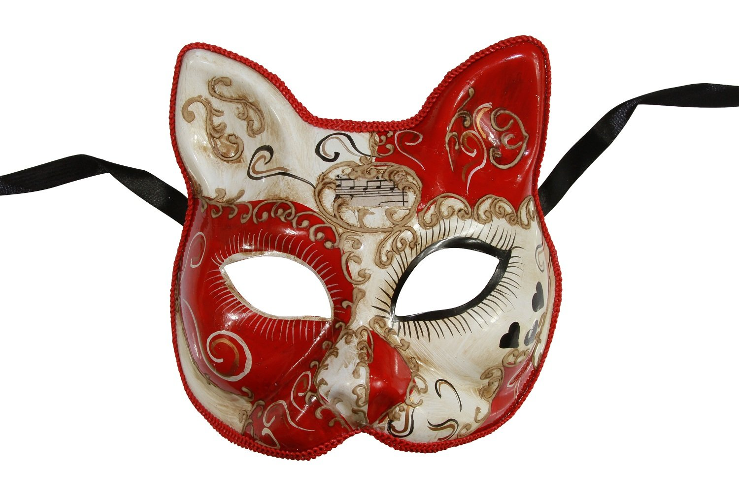 KAYSO INC Love Me Collection Cat Venetian Masquerade Mask (Red)