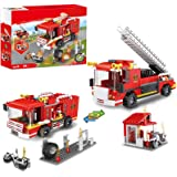 2 in 1 City Fire Station Fire Truck Building Blocks Fire Engine Vehicles Set Fire Fighter Building Kit Construction Toys…