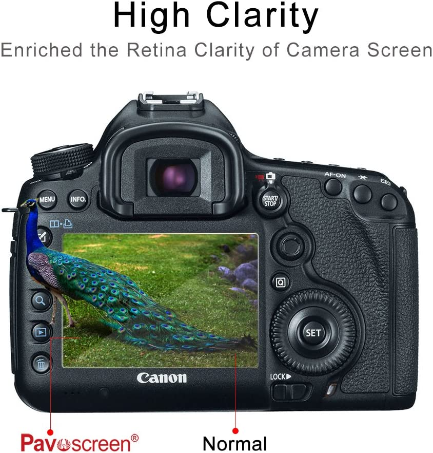 Pavoscreen Anti-Scratch Tempered Glass Fingerprint Proof Easy Apply Protective Film for Canon 5DS 5DSR Camera Screen Protector for Canon 5DIII
