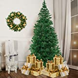 Bocca 8 FT Christmas Artificial Pine Tree Full Branches with Strong Iron Stand Indoor and Outdoor (Green)