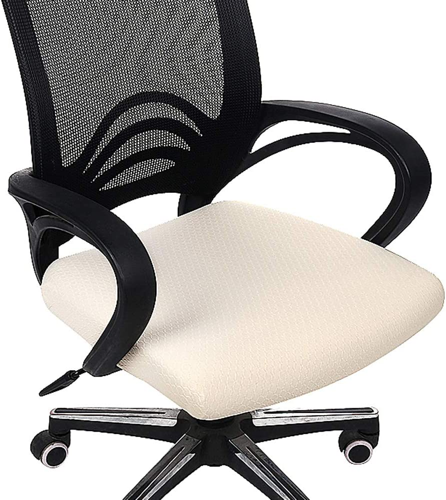 Homaxy Premium Jacquard Office Computer Chair Seat Cover, Spandex Stretch Desk Chair Seat Cushion Covers, Durable Protectors, Beige Slipcover