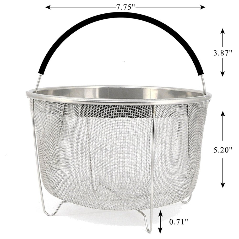 Steamer Basket for 6 or 8 qt Instant Pot Pressure Cooker, 304 Stainless Steel Steamer Insert Basket with Silicone Handle, Great Instant Pot Accessories for Steaming Vegetables Eggs Meats