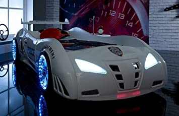 police 3ft super car bed led lights sound white childrens kids boys