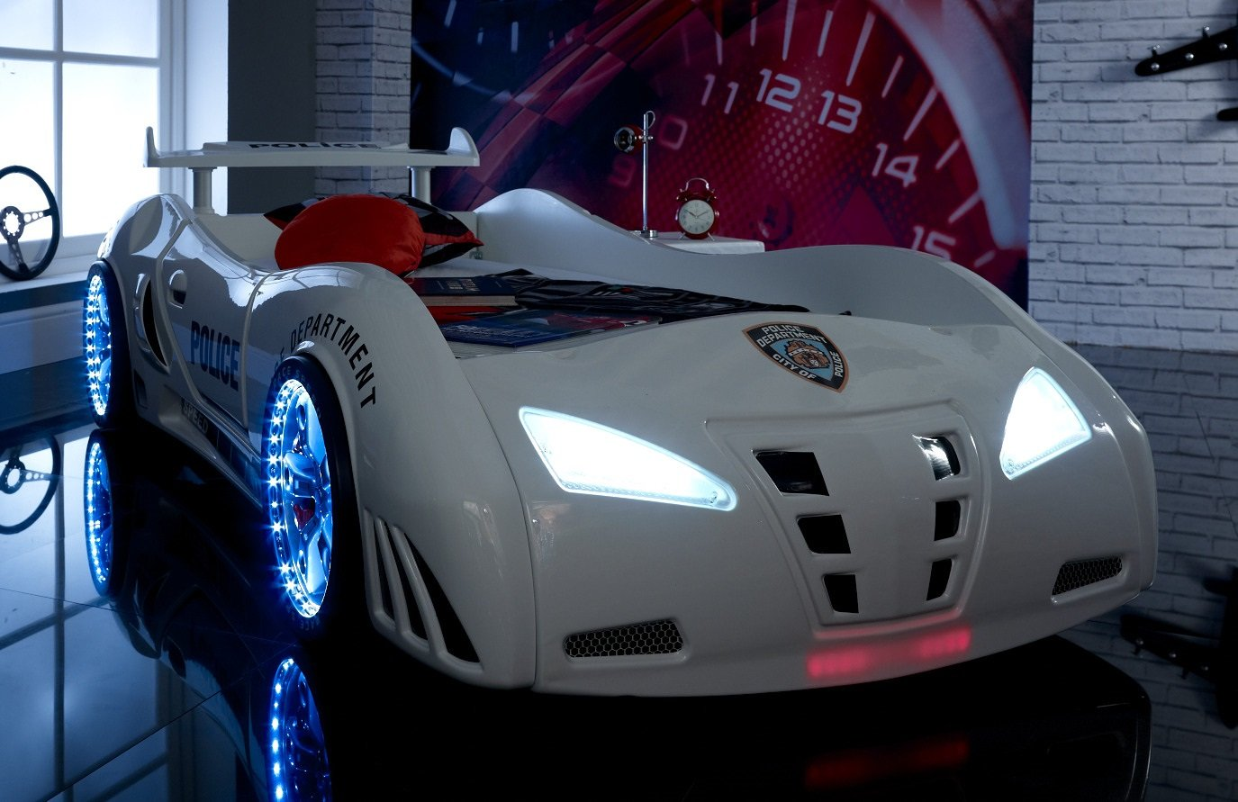 CAR BED POLICE - LED LIGHTS + SOUND - White - Childrens car bed
